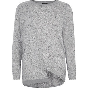 Grey asymmetric hem long sleeve top