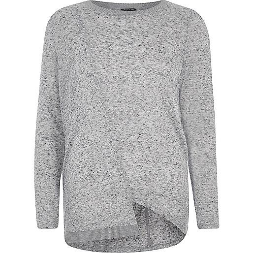 Grey asymmetric hem long sleeve top
