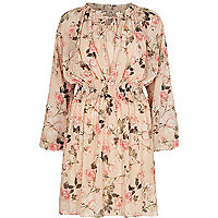​Pink floral print long sleeve smock dress