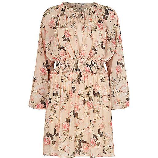 Pink floral print long sleeve smock dress