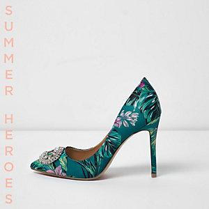 Blue floral print embellished court shoes