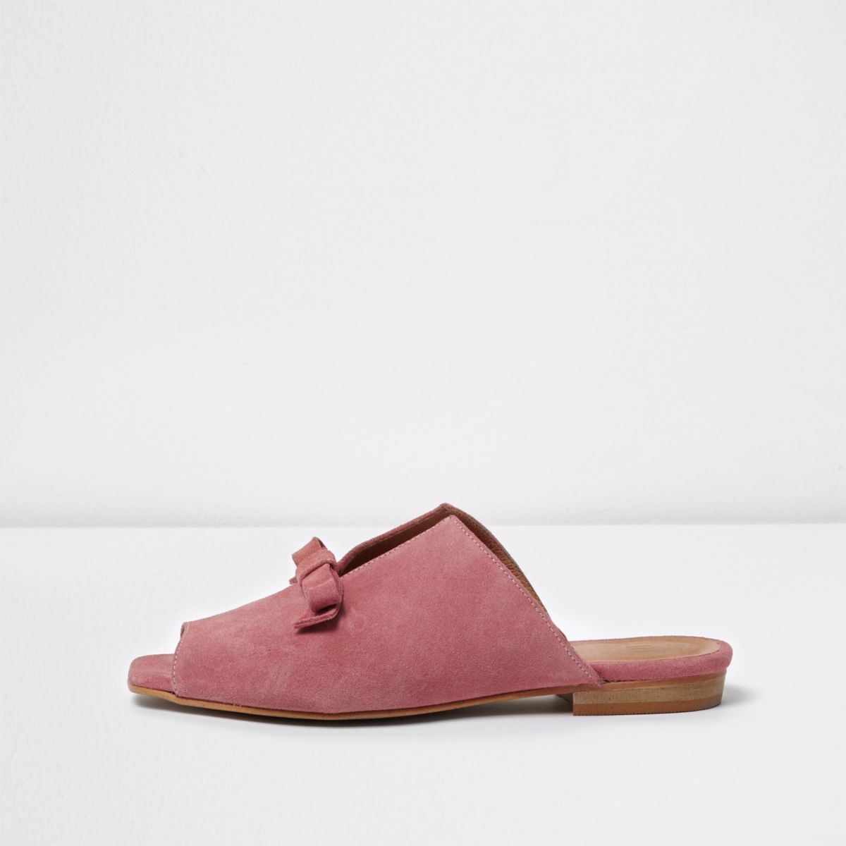 Pink suede bow mules