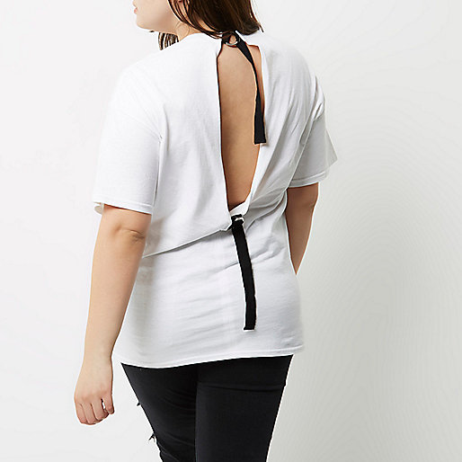 Plus white rock band D-ring back T-shirt