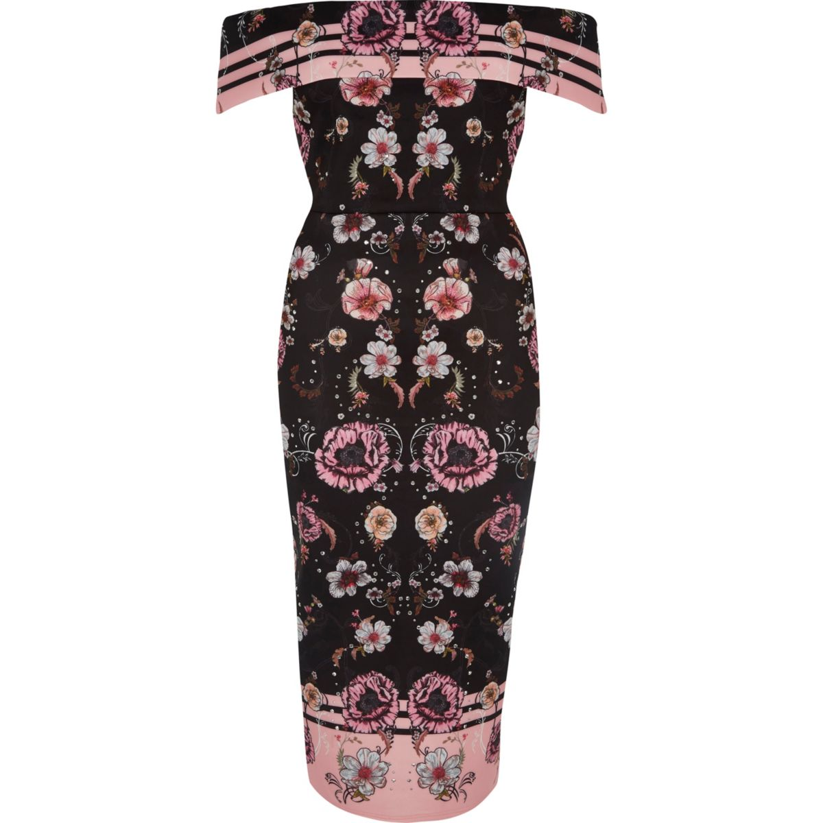 Pink floral print bardot midi dress