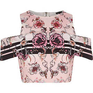 Pink floral print cold shoulder crop top