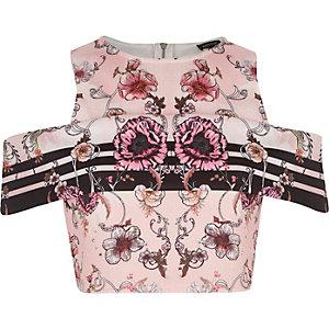 Pink floral print cold shoulder crop top