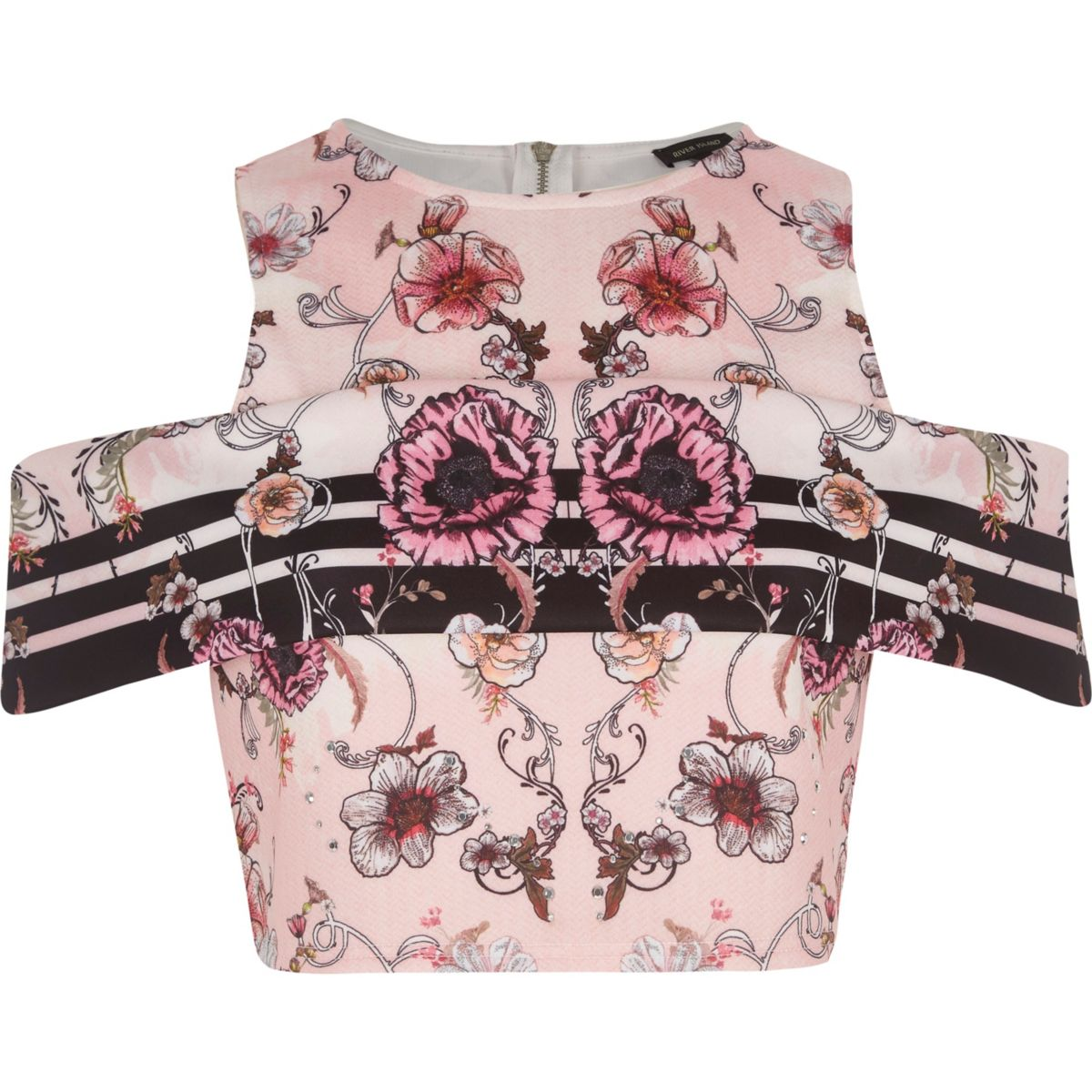 Pinkes Crop Top mit Blumenmuster