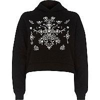 Zwart verfraaid sweatshirt met lange mouwen