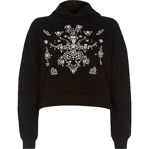 Black embellished long sleeve sweatshirt