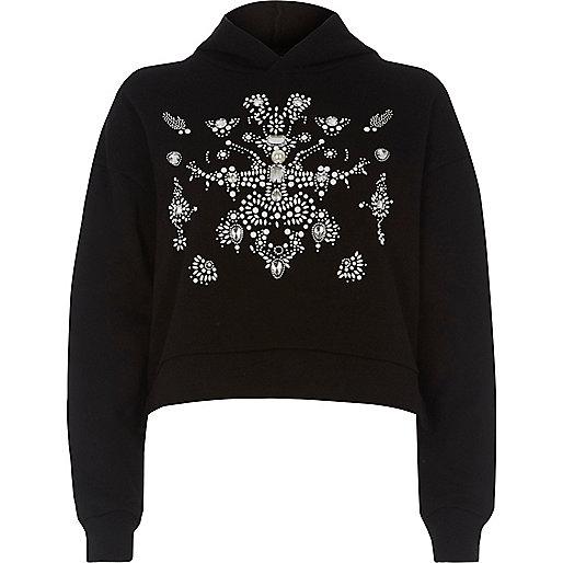 Schwarzes, langärmliges Sweatshirt mit Verzierung
