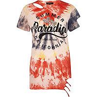T-shirt imprimé effet tie-dye rouge à ourlet aspect usé
