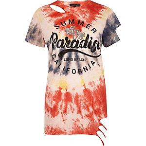Red tie dye print distressed hem T-shirt