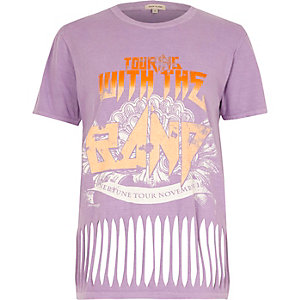 Purple rock band print slash hem T-shirt