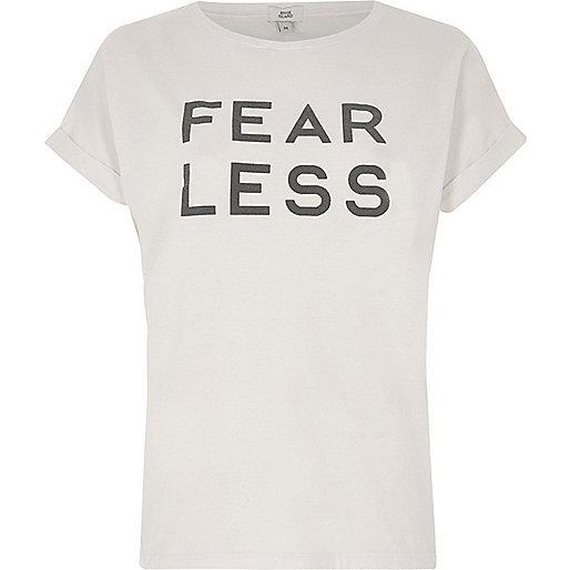 Pink 'fearless' print T-shirt