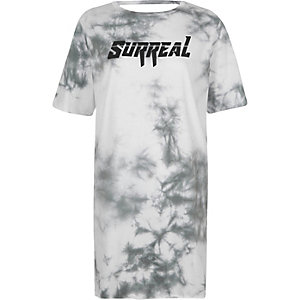 White tie dye 'surreal' lace-up back T-shirt