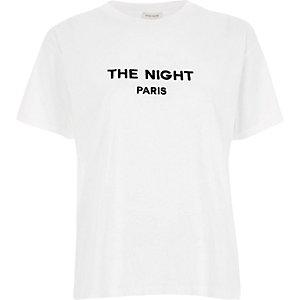 White 'the night Paris' slogan t-shirt