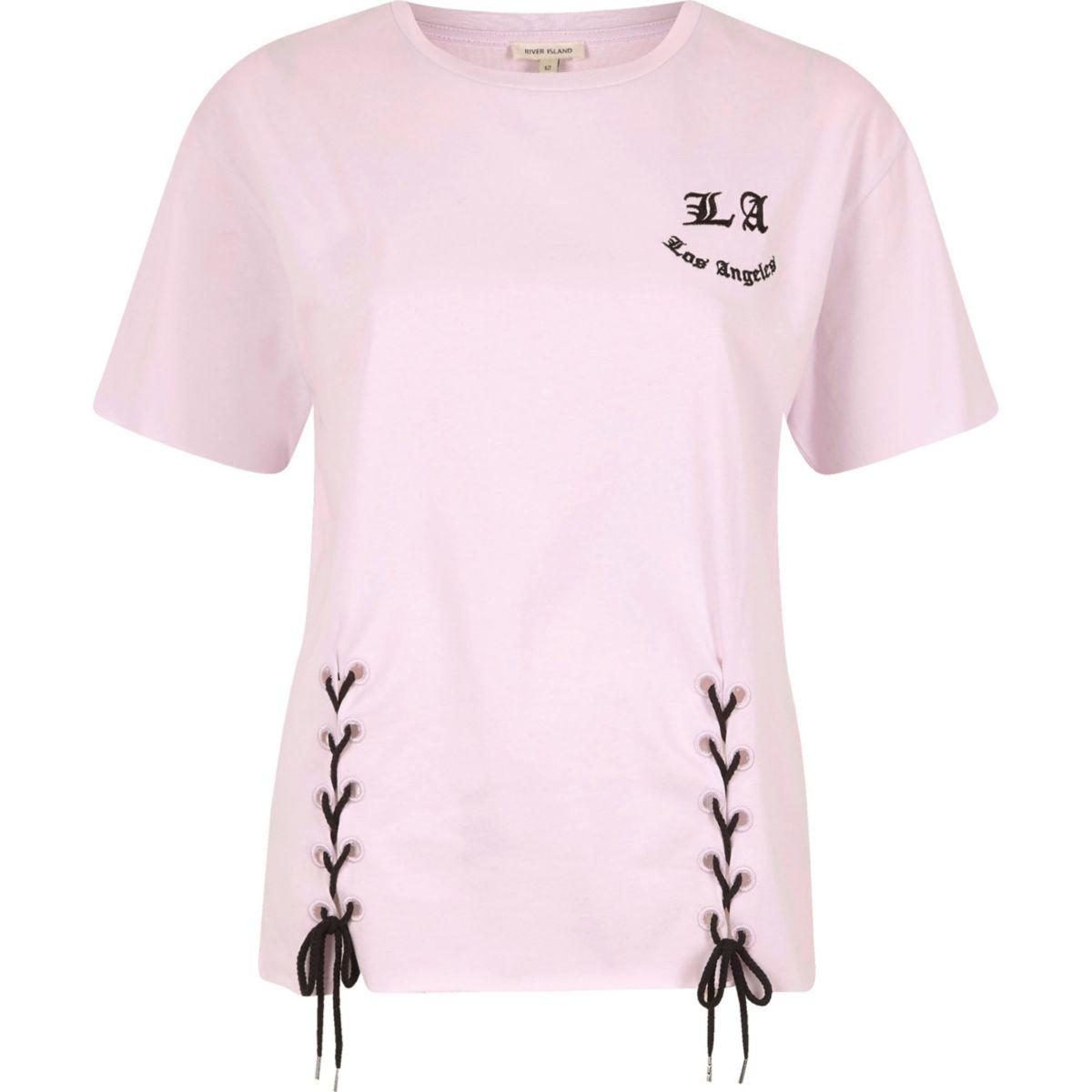Purple 'Los Angeles' print lace-up T-shirt