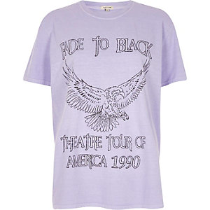 Purple 'fade to black' eagle print T-shirt
