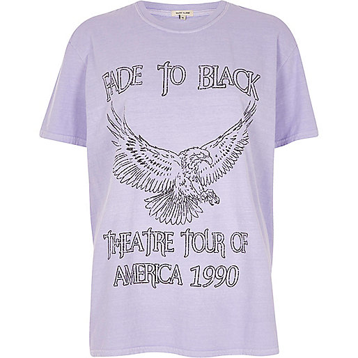 Purple 'fade to black' eagle print T-shirt