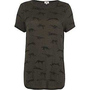 T-Shirt mit Leopardenmotiv in Khaki