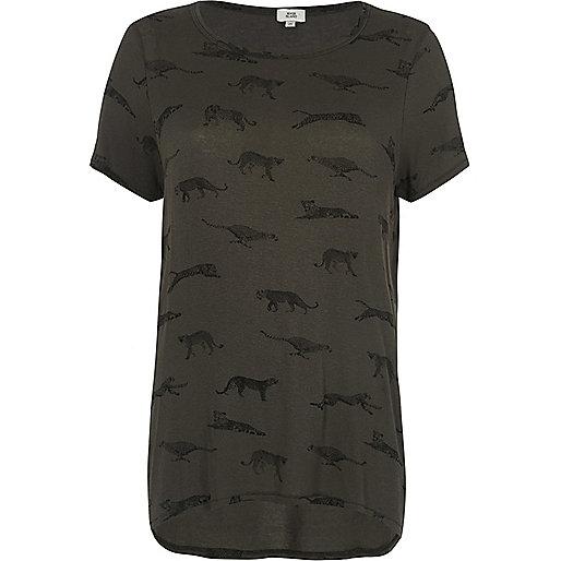 Khaki green leopard motif print T-shirt