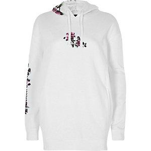 Witte lange hoodie met bloemenprint