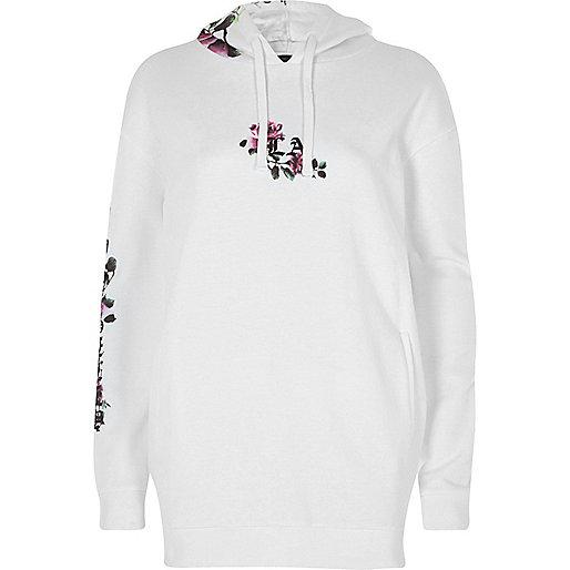White floral print longline hoodie