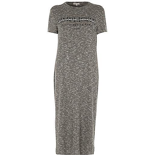 Grey 'simplicite' print T-shirt maxi dress