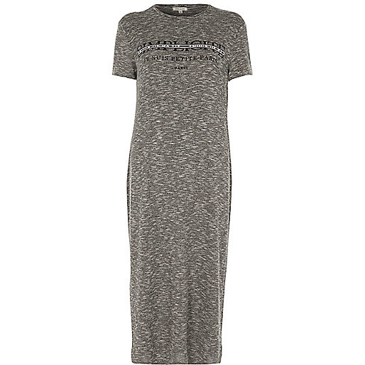 Grey 'simplicite' print T-shirt maxi dress