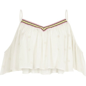Cream embroidered beach cami crop top