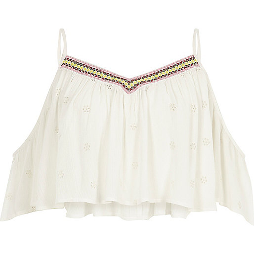 Cream embroidered beach cami crop top