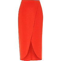 Red wrap midi skirt