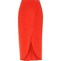 Jupe mi-longue rouge style portefeuille