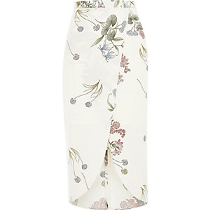 Cream floral print wrap midi skirt