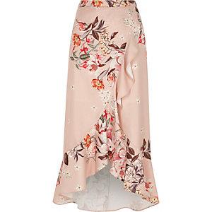 Pink floral print frill hem wrap maxi skirt