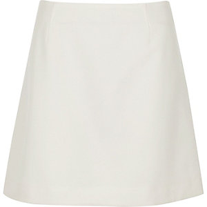 White crepe mini skirt