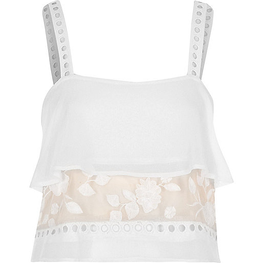 White sheer lace insert frill cami pajama top