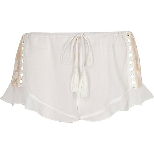White sheer lace insert frill pajama shorts
