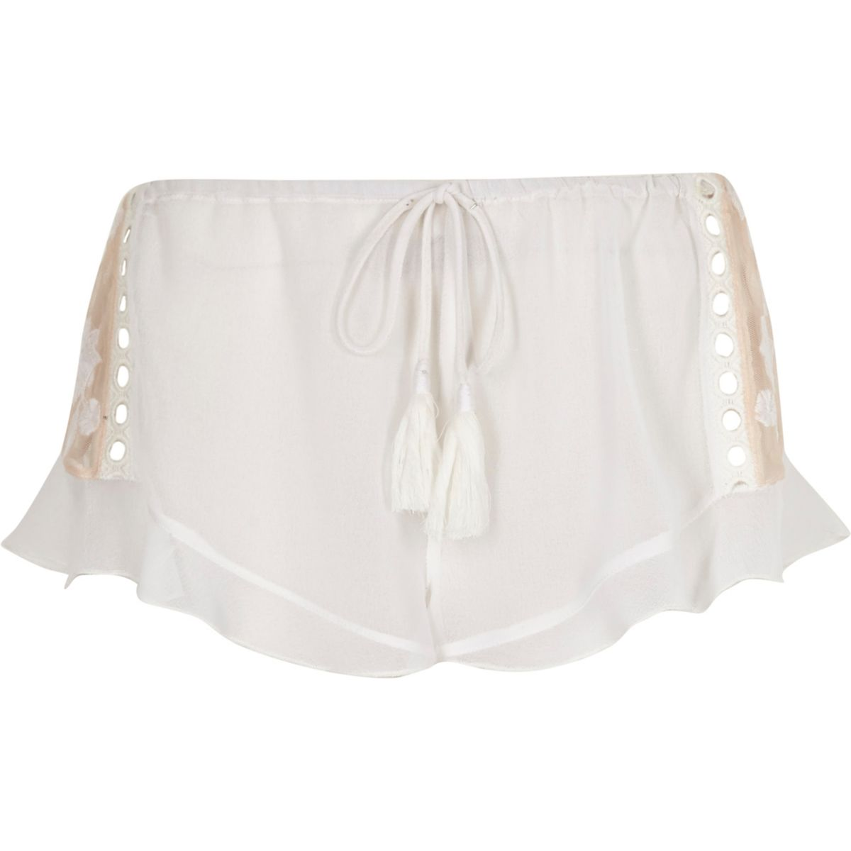 White sheer lace insert frill pajama shorts