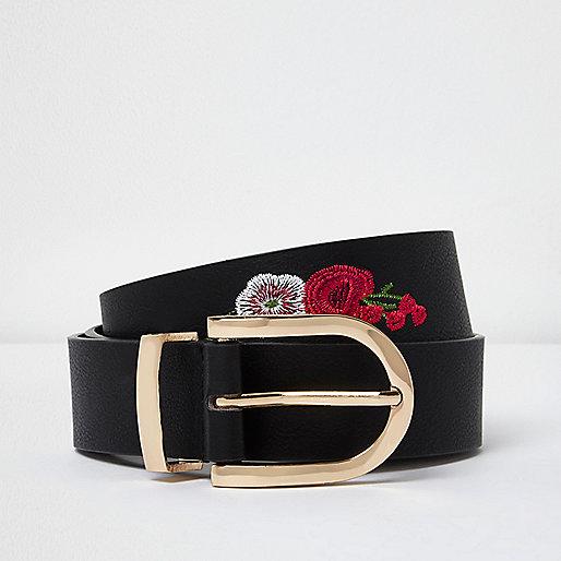 Black floral embroidered belt