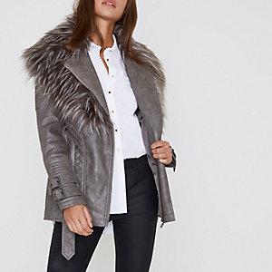 Grey faux fur trim belted biker coat