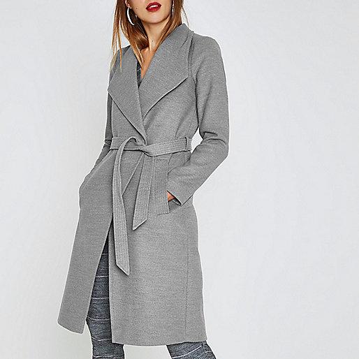 Grey belted robe coat