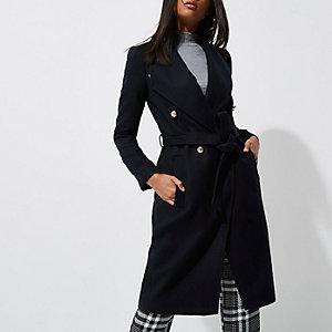 Marineblauwe trenchcoat met riem