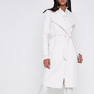 Cream belted robe coat