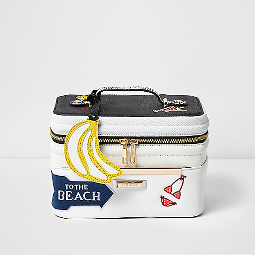 White 'to the beach' badged vanity case