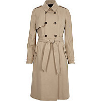 Light beige belted trench coat