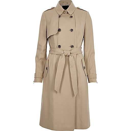 Light beige belted trench coat