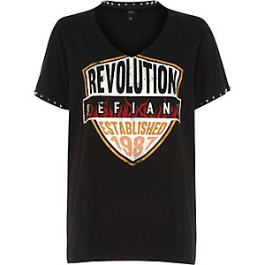 Black 'revolution' band print choker T-shirt