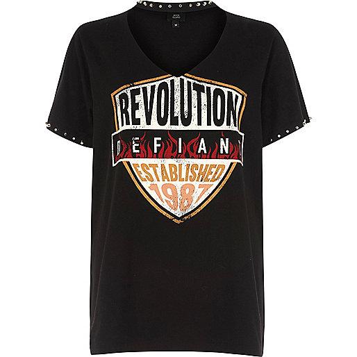 Black 'revolution' band print choker T-shirt