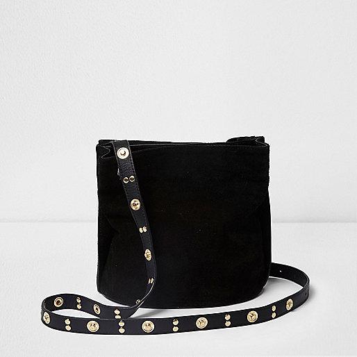 Black suede studed bucket bag